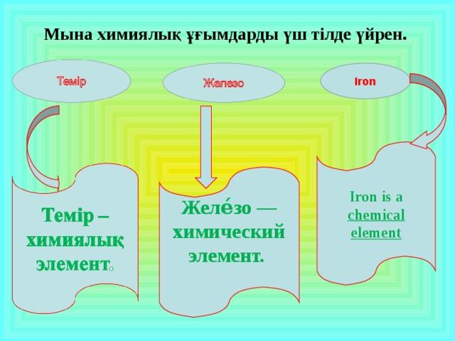 Мына химиялық ұғымдарды үш тілде үйрен. Iron Ironis a chemical element Желе́зо—химический элемент.