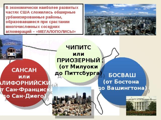 В экономически наиболее развитых частях США сложились обширные урбанизированные районы, образовавшиеся при срастании многочисленных соседних агломераций – «МЕГАЛОПОЛИСЫ» ЧИПИТС или ПРИОЗЕРНЫЙ (от Милуоки до Питтсбурга) БОСВАШ (от Бостона до Вашингтона) САНСАН или КАЛИФОРНИЙСКИЙ (от Сан-Франциско до Сан-Диего)