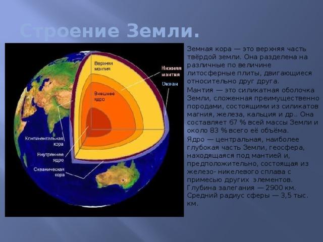 Строение Земли.
