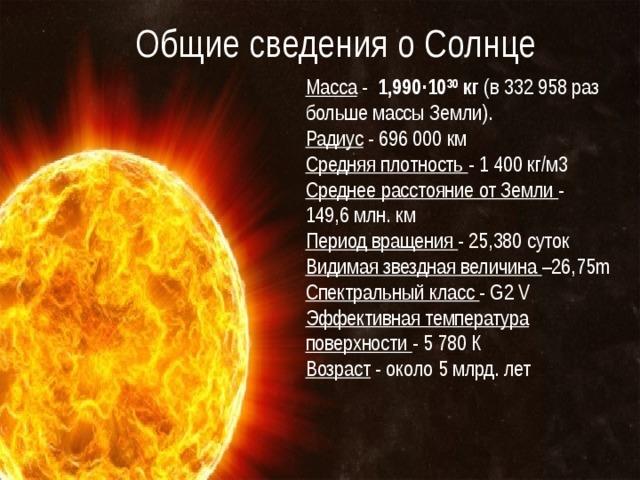 Общие сведения о Солнце Масса - 1,990·10 30 кг (в 332 958 раз больше массы Земли). Радиус - 696 000 км Средняя плотность - 1 400 кг/м3 Среднее расстояние от Земли - 149,6 млн. км Период вращения - 25,380 суток Видимая звездная величина –26,75m Спектральный класс - G2 V Эффективная температура поверхности - 5 780 К Возраст - около 5 млрд. лет