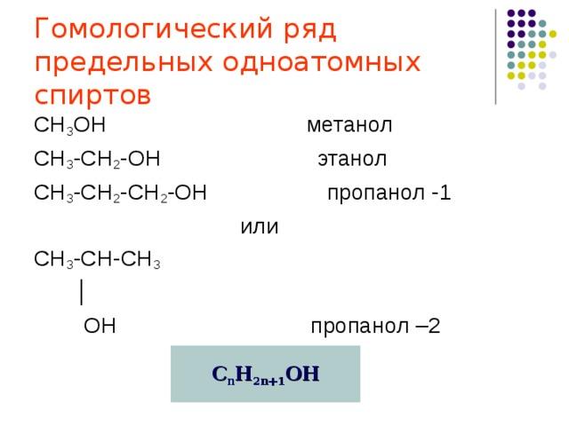 Гомологический ряд  предельных одноатомных спиртов СН 3 ОН метанол СН 3 -СН 2 -ОН этанол СН 3 -СН 2 -СН 2 -ОН пропанол -1  или СН 3 -СН-СН 3  │  ОН пропанол –2 С n H 2n+ 1 OH