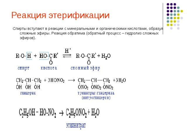 Реакция этерификации Спирты вступают в реакции с минеральными и органическими кислотами, образуя сложные эфиры. Реакция обратима (обратный процесс – гидролиз сложных эфиров).