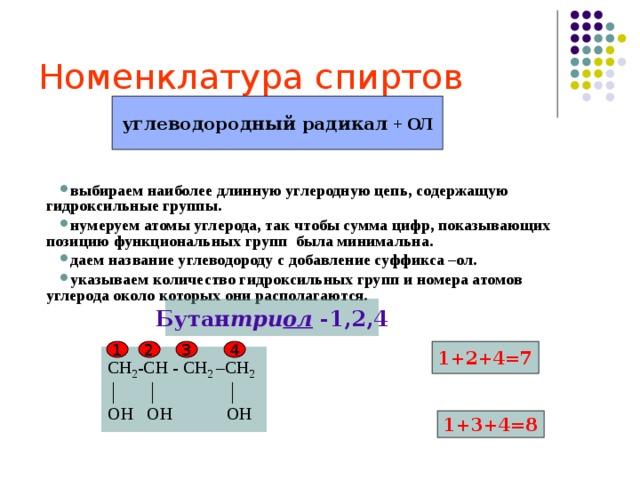 Номенклатура спиртов углеводородный радикал + ОЛ  выбираем наиболее длинную углеродную цепь, содержащую гидроксильные группы. нумеруем атомы углерода, так чтобы сумма цифр, показывающих позицию функциональных групп была минимальна. даем название углеводороду с добавление суффикса –ол. указываем количество гидроксильных групп и номера атомов углерода около которых они располагаются. выбираем наиболее длинную углеродную цепь, содержащую гидроксильные группы. нумеруем атомы углерода, так чтобы сумма цифр, показывающих позицию функциональных групп была минимальна. даем название углеводороду с добавление суффикса –ол. указываем количество гидроксильных групп и номера атомов углерода около которых они располагаются.   Бутан три ол -1,2,4 1+2+4=7 1 2 3 4 СН 2 -СН - СН 2 –СН 2 │ │ │ ОН ОН ОН 1+3+4=8