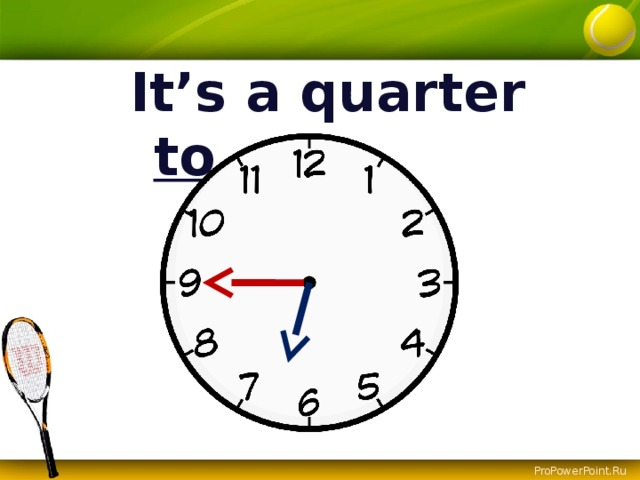It's a quarter to