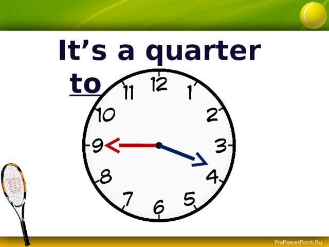 It's a quarter to ….