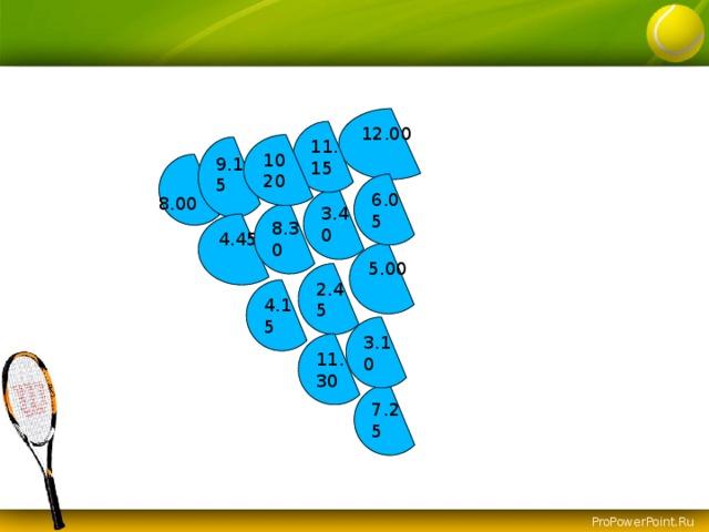 12.00 11. 15 10 20 9.15 6.05 3.40 8.00 8.30 4.45 5.00 2.45 4.15 3.10 11. 30 7.25