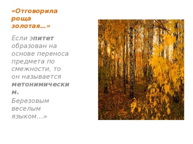 «Отговорила роща золотая…» Если э питет образован на основе переноса предмета по смежности, то он называется метонимическим. Березовым веселым языком…»