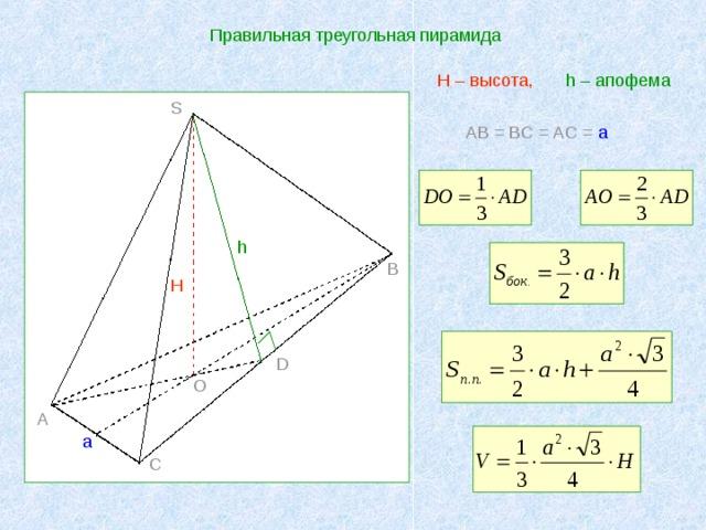 Правильная треугольная пирамида h – апофема  H – высота, S AB = BC = AC = a h B H D O A a C