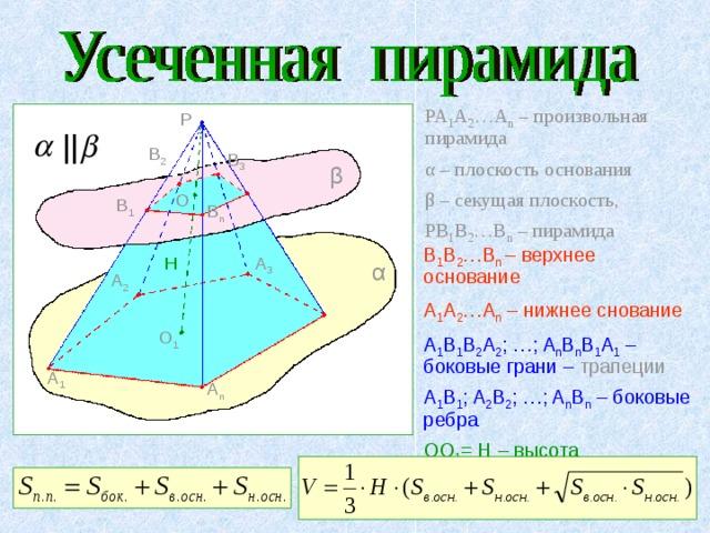 PA 1 A 2 …A n – произвольная пирамида α – плоскость основания β – секущая плоскость, PB 1 B 2 …B n – пирамида P || B 2 B 3 β O B 1 B n B 1 B 2 …B n  – верхнее основание   A 1 A 2 …A n – нижнее снование A 1 B 1 B 2 A 2 ; …; A n B n B 1 A 1 – боковые грани – трапеции A 1 B 1 ; A 2 B 2 ; …; A n B n – боковые ребра OO 1 = H – высота A 3 H α A 2 O 1 A 1 A n