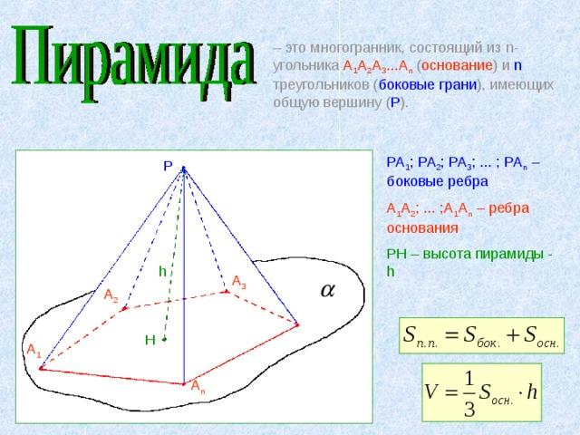 – это многогранник, состоящий из n -угольника А 1 А 2 А 3 ...А n ( основание ) и n треугольников ( боковые грани ), имеющих общую вершину ( Р ). РА 1 ; РА 2 ; РА 3 ; ... ; РА n – боковые ребра А 1 А 2 ; ... ;А 1 А n – ребра основания Р H – высота пирамиды - h Р h А 3 А 2 H А 1 А n