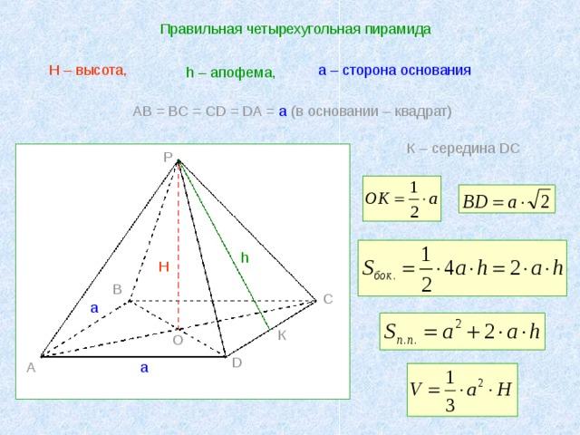 Правильная четырехугольная пирамида а – сторона основания H – высота, h – апофема,  AB = BC = CD = DA = a ( в основании – квадрат) К – середина DC P h H B C a К O D A a