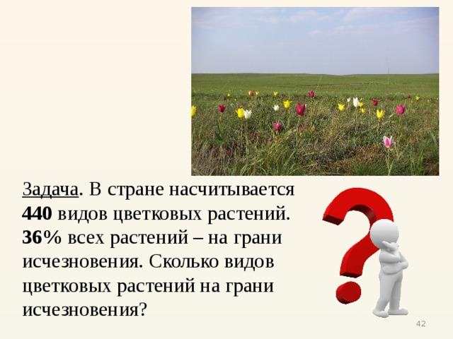 Задача . В стране насчитывается 440 видов цветковых растений. 36% всех растений – на грани исчезновения. Сколько видов цветковых растений на грани исчезновения?