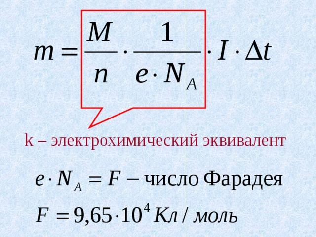 k – электрохимический эквивалент