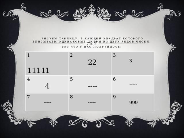 Рисуем таблицу, в каждый квадрат которого вписываем одинаковые цифры из двух рядов чисел.  Вот что у нас получилось:  1   11111 2 4  22 7 5  4 3  3  ----  ----- 8 6  -----  ----- 9  999