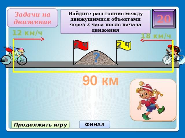Задачи на движение 20 Найдите расстояние между движущимися объектами через 2 часа после начала движения 12 км/ч 18 км/ч 2 ч 2 ч ? 90 км 30 км ФИНАЛ Продолжить игру