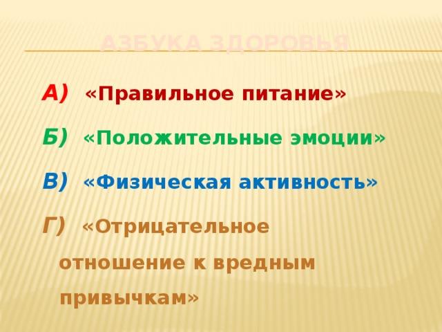 Азбука здоровья А)  «Правильное питание» Б)  «Положительные эмоции» В)  «Физическая активность» Г)  «Отрицательное отношение к вредным привычкам»