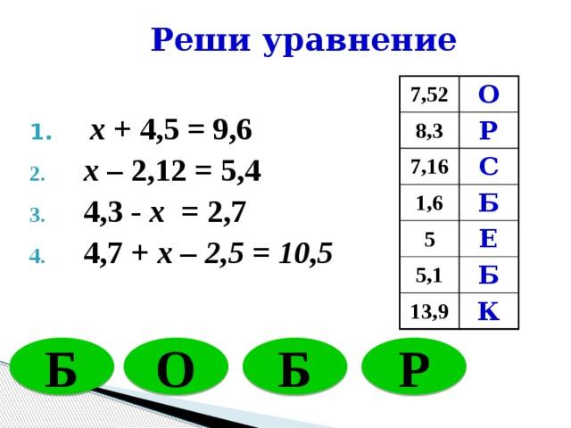 Реши уравнение 7,52 О 8,3 Р 7,16 С 1,6 Б 5 Е 5,1 Б 13,9 К  x + 4,5 = 9,6  x – 2,12 = 5,4  4,3 - x = 2,7  4,7 + x – 2,5 = 10,5 Б О Б Р