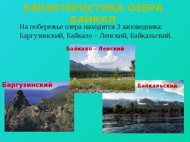 Характеристика озера байкал  На побережье озера находятся 3 заповедника: Баргузинский, Байкало – Ленский, Байкальский. Байкало – Ленский Баргузинский Байкальский