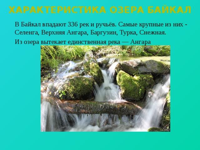 Характеристика озера байкал   В Байкал впадают 336 рек и ручьёв. Самые крупные из них -  Селенга, Верхняя Ангара, Баргузин, Турка, Снежная.   Из озера вытекает единственная река — Ангара
