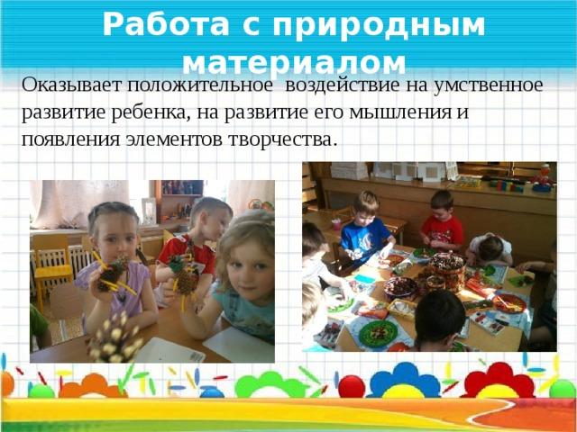Работа с природным материалом Оказывает положительное воздействие на умственное развитие ребенка, на развитие его мышления и появления элементов творчества.