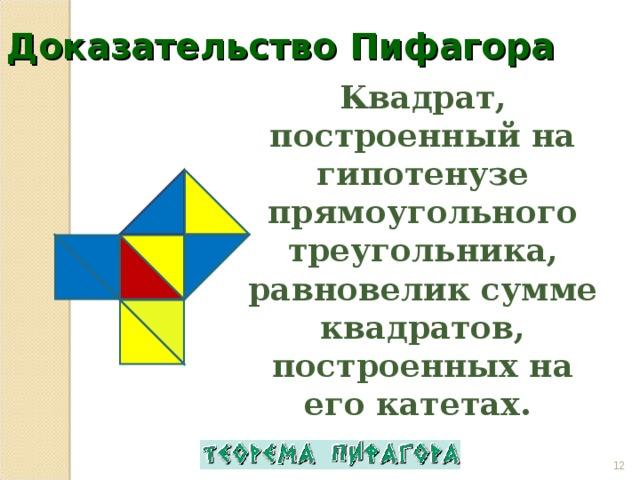 Доказательство Пифагора Квадрат, построенный на гипотенузе прямоугольного треугольника, равновелик сумме квадратов, построенных на его катетах.
