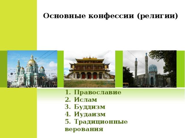 Основные конфессии (религии) Православие Ислам Буддизм Иудаизм Традиционные верования