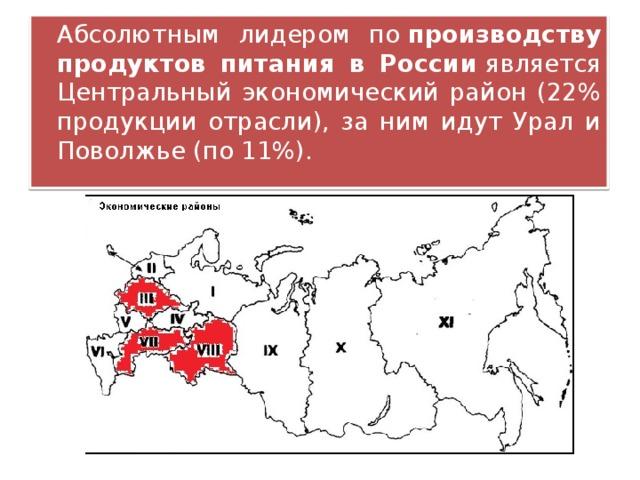 Абсолютным лидером по производству продуктов питания в России является Центральный экономический район (22% продукции отрасли), за ним идут Урал и Поволжье (по 11%).