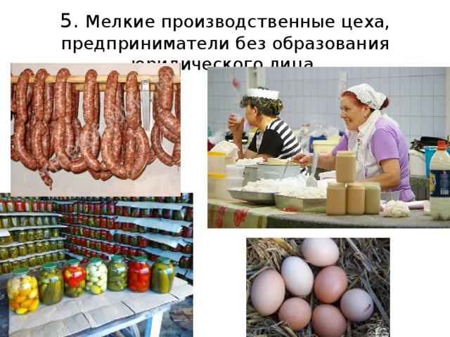 5. Мелкие производственные цеха, предприниматели без образования юридического лица.