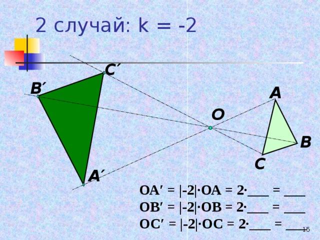 2 случай: k = -2 С′ В′ А О В С А′ ОА′ = |- 2 | ∙ОА = 2∙___ = ___ ОВ′ = |- 2 | ∙ОВ = 2∙___ = ___ ОС′ = |- 2 | ∙ОС = 2∙___ = ___  13
