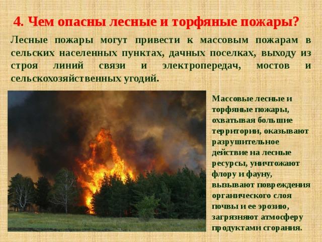 4. Чем опасны лесные и торфяные пожары? Лесные пожары могут привести к массовым пожарам в сельских населенных пунктах, дачных поселках, выходу из строя линий связи и электропередач, мостов и сельскохозяйственных угодий. Массовые лесные и торфяные пожары, охватывая большие территории, оказывают разрушительное действие на лесные ресурсы, уничтожают флору и фауну, вызывают повреждения органического слоя почвы и ее эрозию, загрязняют атмосферу продуктами сгорания.