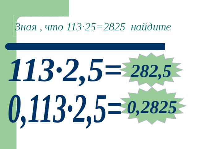 Зная , что 113 ∙ 25=2825 найдите 282,5 0,2825 Примеры выполняются учениками устно