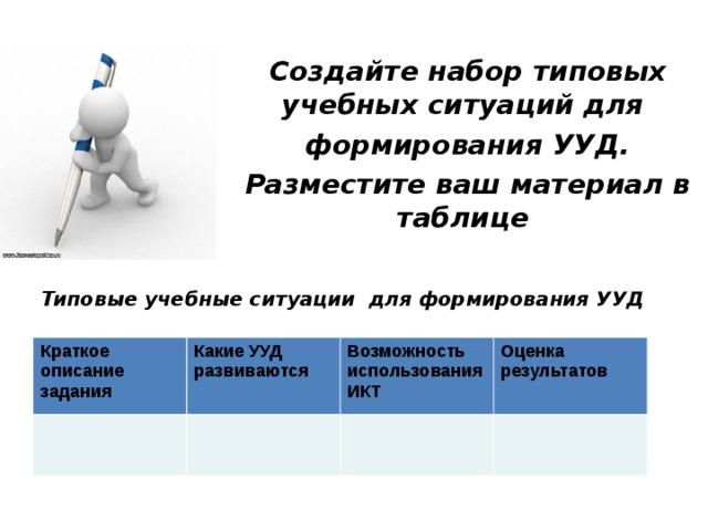 Создайте набор типовых учебных ситуаций для формирования УУД. Разместите ваш материал в таблице Типовые учебные ситуации для формирования УУД Краткое описание задания Какие УУД развиваются Возможность использования ИКТ Оценка результатов