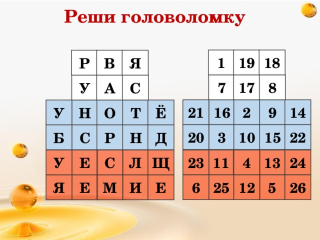 Реши головоломку 18 19 1 Я В Р 8 17 7 У С А 21 14 9 2 16 Н О Т Ё У 15 10 3 20 22 Д Б С Р Н 24 13 23 11 4 У Е Л Щ С 6 25 12 5 26 Е Я Е М И