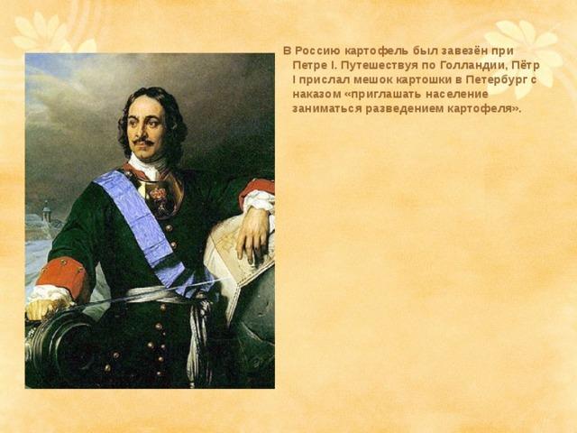 В Россию картофель был завезён при Петре I. Путешествуя по Голландии, Пётр I прислал мешок картошки в Петербург с наказом «приглашать население заниматься разведением картофеля».