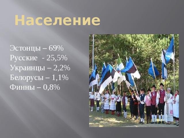 Население Эстонцы – 69% Русские - 25,5% Украинцы – 2,2% Белорусы – 1,1% Финны – 0,8%