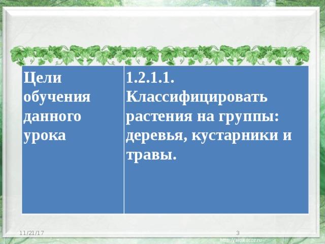 Цели обучения данного урока 1.2.1.1. Классифицировать растения на группы: деревья, кустарники и травы. 11/21/17