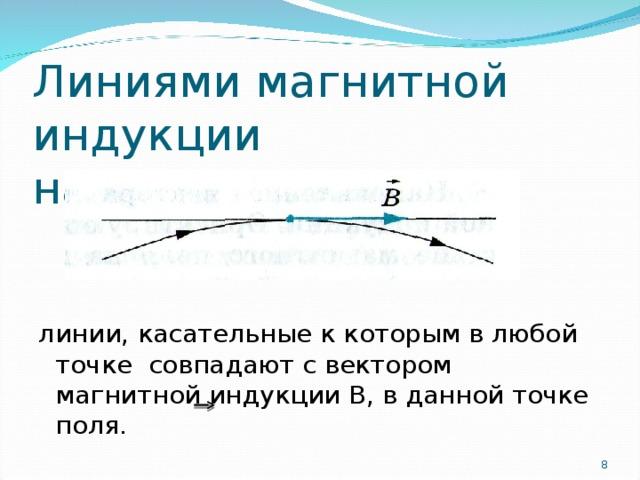 Линиями магнитной индукции называются ... линии, касательные к которым в любой точке совпадают с вектором магнитной индукции В, в данной точке поля.