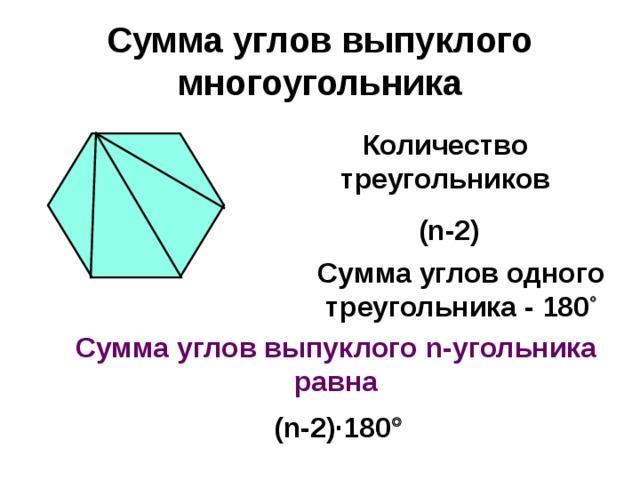 Сумма углов выпуклого многоугольника Количество треугольников  (n-2) Сумма углов одного треугольника - 180  Сумма углов выпуклого n- угольника равна (n-2)·180 