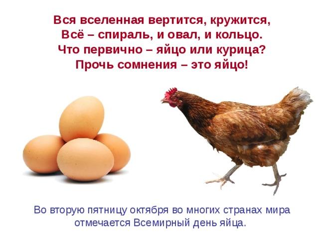 Вся вселенная вертится, кружится, Всё – спираль, и овал, и кольцо. Что первично – яйцо или курица? Прочь сомнения – это яйцо! Вовторую пятницу октября вомногих странах мира отмечается Всемирный день яйца.