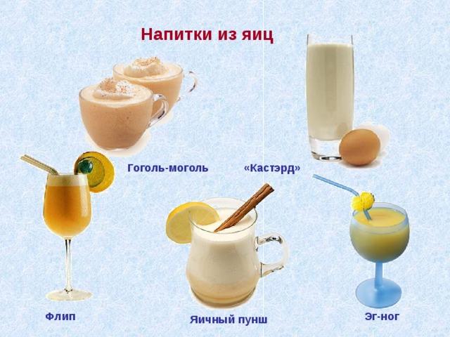 Напитки из яиц «Кастэрд» Гоголь-моголь Флип Эг-ног Яичный пунш
