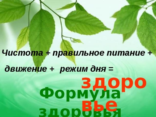 Чистота + правильное питание + движение + режим дня = здоровье Формула здоровья