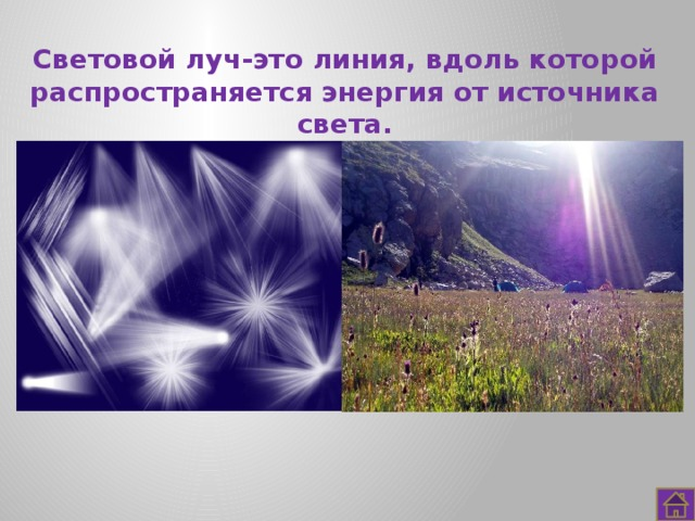 Световой луч-это линия, вдоль которой распространяется энергия от источника света.