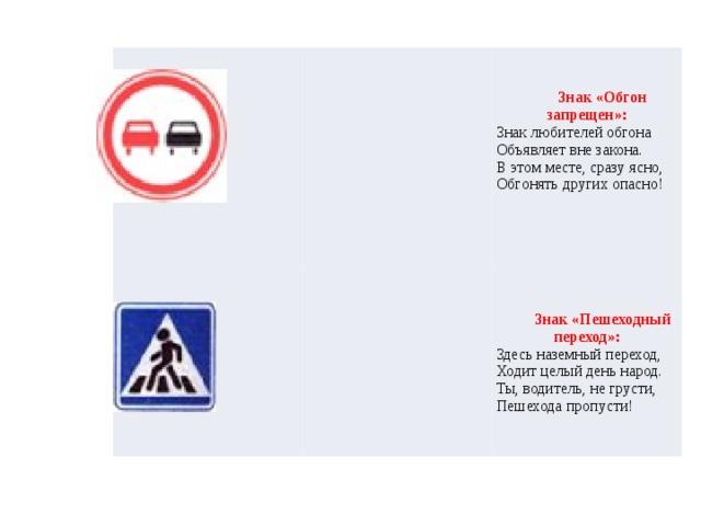 Знак «Обгон запрещен»:  Знак любителей обгона  Объявляет вне закона.  В этом месте, сразу ясно,  Обгонять других опасно!     Знак «Пешеходный переход»: Здесь наземный переход,  Ходит целый день народ.  Ты, водитель, не грусти,  Пешехода пропусти!