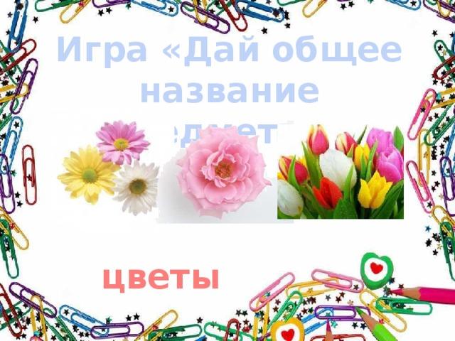 Игра «Дай общее название предметам» цветы