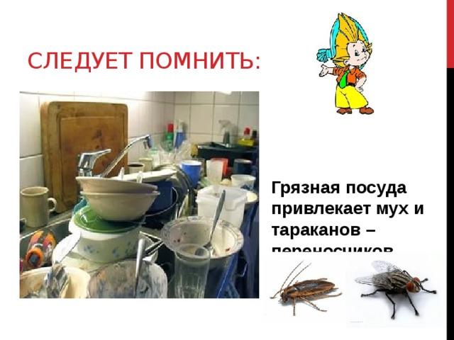 Следует помнить: Грязная посуда привлекает мух и тараканов – переносчиков опасных болезней.