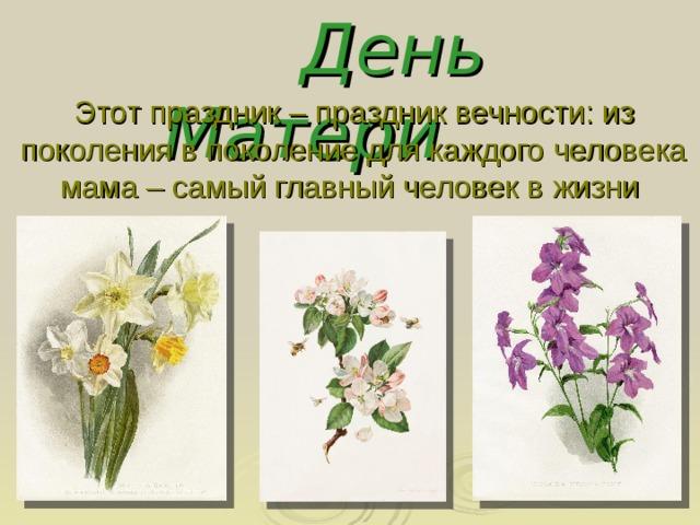 День Матери Этот праздник – праздник вечности: из поколения в поколение для каждого человека мама – самый главный человек в жизни