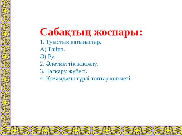 Сабақтың жоспары:  1. Туыстық қатынастар.  А) Тайпа.  Ә) Ру.  2. Әлеуметтік жіктелу.  3. Басқару жүйесі.  4. Қоғамдағы түрлі топтар қызметі.