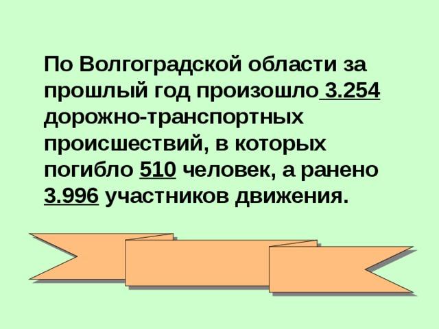 По Волгоградской области за прошлый год произошло 3.254 дорожно-транспортных происшествий, в которых погибло 510 человек, а ранено 3.996 участников движения.