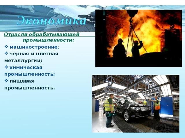 Отрасли обрабатывающей промышленности: машиностроение ; чёрная и цветная металлургии; химическая промышленность; пищевая промышленность.