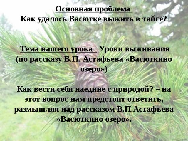 Основная проблема   Как удалось Васютке выжить в тайге?      Тема нашего урока Уроки выживания (по рассказу В.П. Астафьева «Васюткино озеро»)   Как вести себя наедине с природой? – на этот вопрос нам предстоит ответить, размышляя над рассказом В.П.Астафьева «Васюткино озеро».